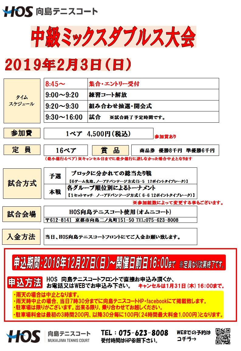 2019.2中級ミックスダブルス